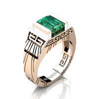 Mens Modern 14K Rose Gold 3.0 Carat Emerald Cut Emerald Aztec Wedding Ring G1294-14KRGEM