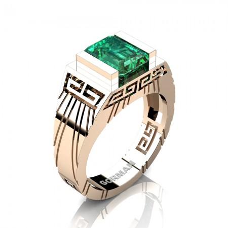 Mens Modern 14K Rose Gold 3.0 Carat Emerald Cut Emerald Aztec Wedding Ring G1294-14KRGEM