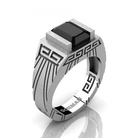 Mens Modern 14K White Gold Sandblast 3.0 Carat Emerald Cut Black Sapphire Aztec Wedding Ring G1294-14KSWGBLS