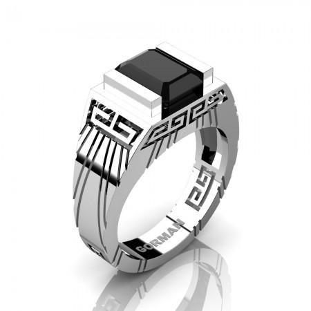 Mens Modern 14K White Gold 3.0 Carat Emerald Cut Black Sapphire Aztec Wedding Ring G1294-14KWGBLS