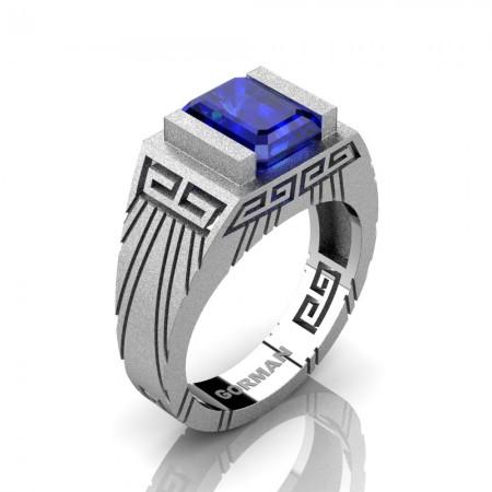 Mens Modern 14K White Gold Sandblast 3.0 Carat Emerald Cut Blue Sapphire Aztec Wedding Ring G1294-14KSWGBS