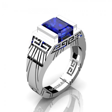 Mens Modern 14K White Gold 3.0 Carat Emerald Cut Blue Sapphire Aztec Wedding Ring G1294-14KWGBS
