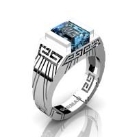 Mens Modern 14K White Gold 3.0 Carat Emerald Cut Blue Topaz Aztec Wedding Ring G1294-14KWGBT