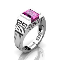 Mens Modern 14K White Gold 3.0 Carat Emerald Cut Pink Sapphire Aztec Wedding Ring G1294-14KWGPS