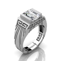 Mens Modern 14K White Gold Sandblast 3.0 Carat Emerald Cut White Sapphire Aztec Wedding Ring G1294-14KSWGWS