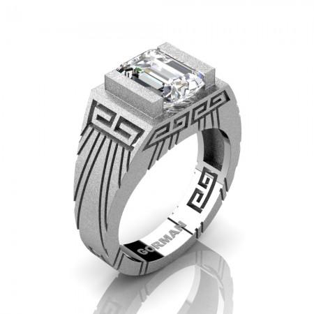Mens Modern 14K White Gold Sandblast 3.0 Carat Emerald Cut White Sapphire Aztec Wedding Ring G1294-14KSWGWS