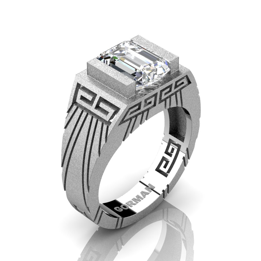 Mens Modern 14k White Gold Sandblast 3 0 Carat Emerald Cut White
