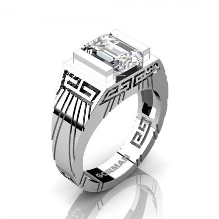 Mens Modern 14K White Gold 3.0 Carat Emerald Cut White Sapphire Aztec Wedding Ring G1294-14KWGWS