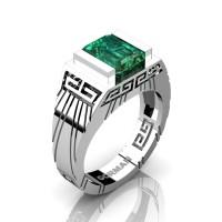 Mens Modern 14K White Gold 3.0 Carat Emerald Cut Emerald Aztec Wedding Ring G1294-14KWGEM