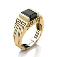 Mens Modern 14K Yellow Gold Sandblast 3.0 Carat Emerald Cut Black Sapphire Aztec Wedding Ring G1294-14KSYGBLS