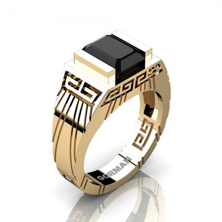 Mens Modern 14K Yellow Gold 3.0 Carat Emerald Cut Black Sapphire Aztec Wedding Ring G1294-14KYGBLS