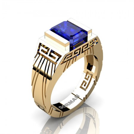 Mens Modern 14K Yellow Gold 3.0 Carat Emerald Cut Blue Sapphire Aztec Wedding Ring G1294-14KYGBS