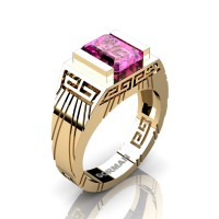 Mens Modern 14K Yellow Gold 3.0 Carat Emerald Cut Pink Sapphire Aztec Wedding Ring G1294-14KYGPS