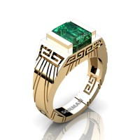 Mens Modern 14K Yellow Gold 3.0 Carat Emerald Cut Emerald Aztec Wedding Ring G1294-14KYGEM