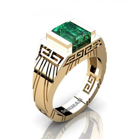 Mens Modern 14K Yellow Gold 3.0 Carat Emerald Cut Emerald Aztec Wedding Ring G1294-14KYGEM
