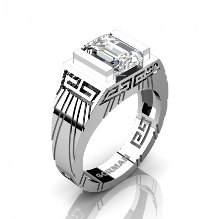Mens Modern 950 Platinum 3.0 Carat Emerald Cut White Sapphire Aztec Wedding Ring G1294-PLATWS