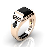 Mens Modern 14K Rose Gold 3.0 Carat Princess Black Sapphire Flanked Kite Wedding Ring G1298-14KRGBLS