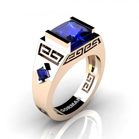 Mens Modern 14K Rose Gold 3.0 Carat Princess Blue Sapphire Flanked Kite Wedding Ring G1298-14KRGBS