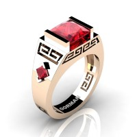 Mens Modern 14K Rose Gold 3.0 Carat Princess Ruby Flanked Kite Wedding Ring G1298-14KRGR