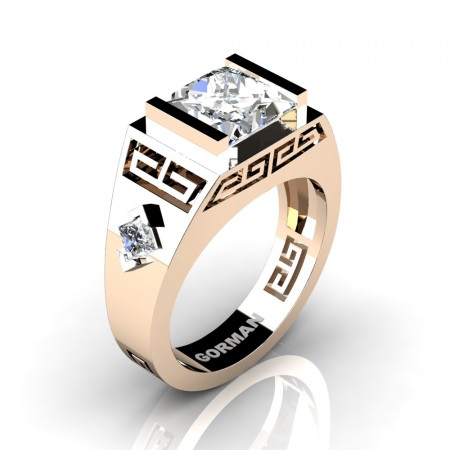 Mens Modern 14K Rose Gold 3.0 Carat Princess White Sapphire Flanked Kite Wedding Ring G1298-14KRGWS