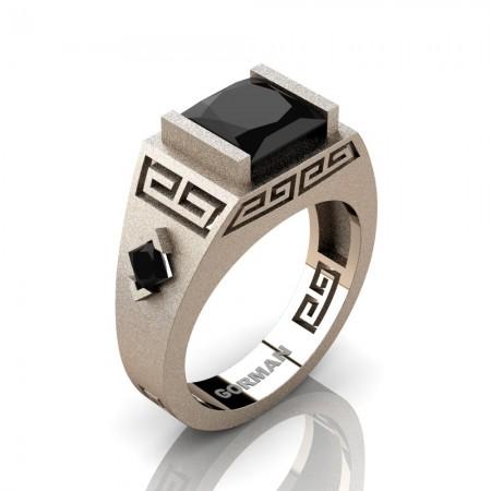 Mens Modern 14K Rose Gold Sandblast 3.0 Carat Princess Black Sapphire Flanked Kite Wedding Ring G1298-14KSRGBLS
