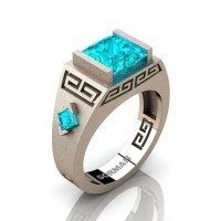Mens Modern 14K Rose Gold Sandblast 3.0 Carat Princess Blue Zircon Flanked Kite Wedding Ring G1298-14KSRGBZ