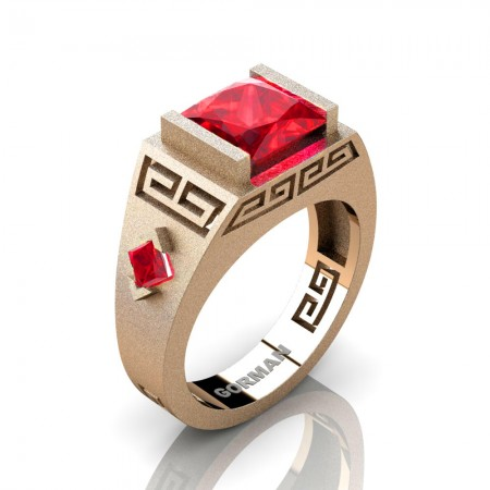 Mens Modern 14K Rose Gold Sandblast 3.0 Carat Princess Ruby Flanked Kite Wedding Ring G1298-14KSRGR