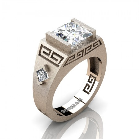 Mens Modern 14K Rose Gold Sandblast 3.0 Carat Princess White Sapphire Flanked Kite Wedding Ring G1298-14KSRGWS