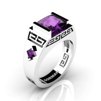 Mens Modern 14K White Gold 3.0 Carat Princess Amethyst Flanked Kite Wedding Ring G1298-14KWGAM