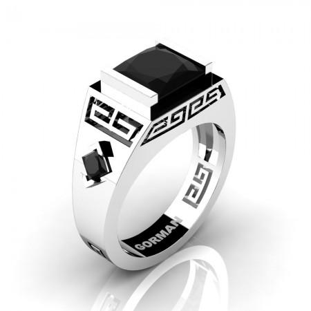 Mens Modern 14K White Gold 3.0 Carat Princess Black Diamond Flanked Kite Wedding Ring G1298-14KWGBD