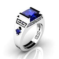 Mens Modern 14K White Gold 3.0 Carat Princess Blue Sapphire Flanked Kite Wedding Ring G1298-14KWGBS