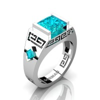 Mens Modern 14K White Gold 3.0 Carat Princess Blue Zircon Flanked Kite Wedding Ring G1298-14KWGBZ