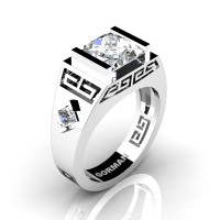 Mens Modern 14K White Gold 3.0 Carat Princess White Sapphire Flanked Kite Wedding Ring G1298-14KWGWS