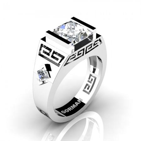 Mens Modern 14K White Gold 3.0 Carat Princess White Sapphire Flanked Kite Wedding Ring G1298-14KWGWS