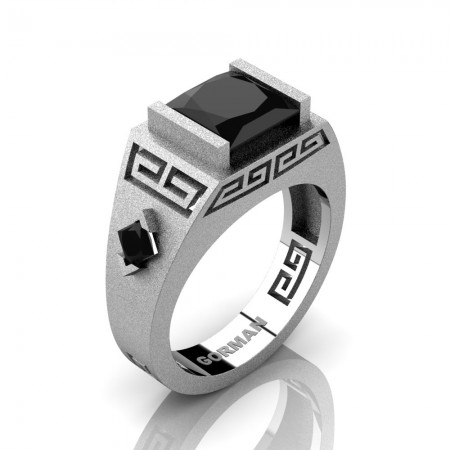 Mens Modern 14K White Gold Sandblast 3.0 Carat Princess Black Sapphire Flanked Kite Wedding Ring G1298-14KSWGBLS