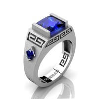 Mens Modern 14K White Gold Sandblast 3.0 Carat Princess Blue Sapphire Flanked Kite Wedding Ring G1298-14KSWGBS