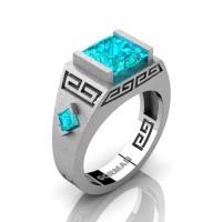 Mens Modern 14K White Gold Sandblast 3.0 Carat Princess Blue Zircon Flanked Kite Wedding Ring G1298-14KSWGBZ