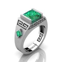 Mens Modern 14K White Gold Sandblast 3.0 Carat Princess Emerald Flanked Kite Wedding Ring G1298-14KSWGEM