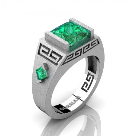 Mens Modern 14K White Gold Sandblast 3.0 Carat Princess Emerald Flanked Kite Wedding Ring G1298-14KSWGEM