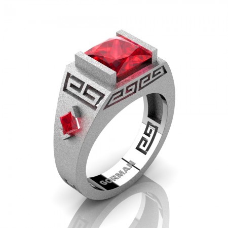 Mens Modern 14K White Gold Sandblast 3.0 Carat Princess Ruby Flanked Kite Wedding Ring G1298-14KSWGR