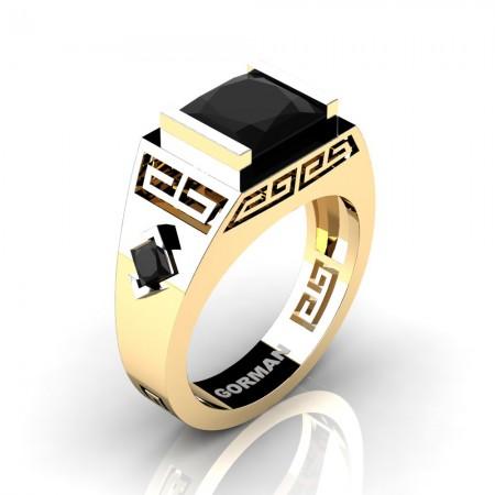 Mens Modern 14K Yellow Gold 3.0 Carat Princess Black Diamond Flanked Kite Wedding Ring G1298-14KYGBD