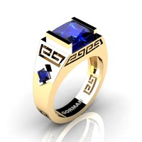 Mens Modern 14K Yellow Gold 3.0 Carat Princess Blue Sapphire Flanked Kite Wedding Ring G1298-14KYGBS