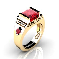 Mens Modern 14K Yellow Gold 3.0 Carat Princess Ruby Flanked Kite Wedding Ring G1298-14KYGR
