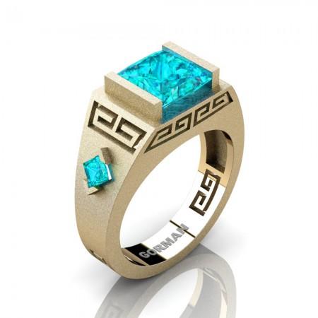 Mens Modern 14K Yellow Gold Sandblast 3.0 Carat Princess Blue Zircon Flanked Kite Wedding Ring G1298-14KSYGBZ