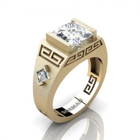 Mens Modern 14K Yellow Gold Sandblast 3.0 Carat Princess White Sapphire Flanked Kite Wedding Ring G1298-14KSYGWS