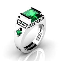Mens Modern 950 Platinum 3.0 Carat Princess Emerald Flanked Kite Wedding Ring G1298-PLATEM