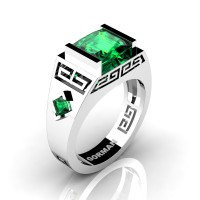 Mens Modern 14K White Gold 3.0 Carat Princess Emerald Flanked Kite Wedding Ring G1298-14KWGEM