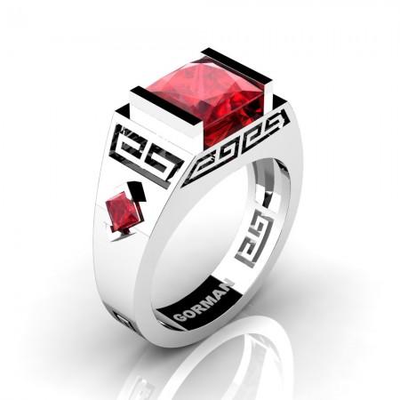 Mens Modern 950 Platinum 3.0 Carat Princess Ruby Flanked Kite Wedding Ring G1298-PLATR