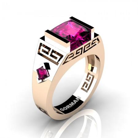 Womens Modern 14K Rose Gold 3.0 Carat Princess Pink Sapphire Flanked Kite Wedding Ring G1298F-14KRGPS