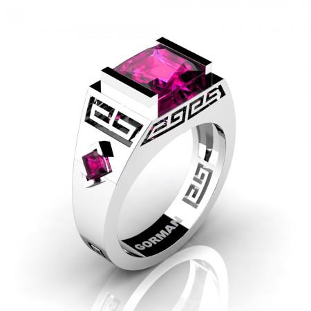 Womens Modern 14K White Gold 3.0 Carat Princess Pink Sapphire Flanked Kite Wedding Ring G1298F-14KWGPS